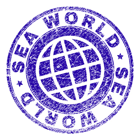 SEA WORLD stamp watermark with distress texture. Blue vector rubber print of SEA WORLD title with scratched texture. Seal has words placed by circle and planet symbol. Иллюстрация