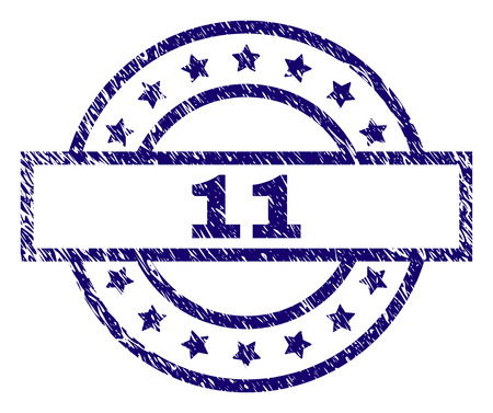 11 stamp seal watermark with distress texture. Designed with rectangle, circles and stars. Blue vector rubber print of 11 title with corroded texture.