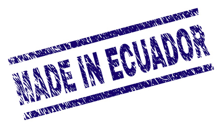 MADE IN ECUADOR stamp seal watermark with grunge style. Blue vector rubber print of MADE IN ECUADOR text with grunge texture. Text label is placed between parallel lines.