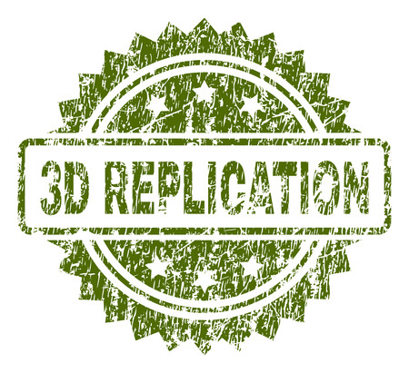 3D REPLICATION stamp seal watermark with rubber print style. Green vector rubber print of 3D REPLICATION caption with scratched texture.