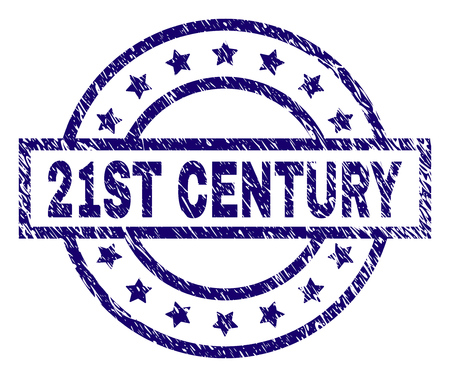 21ST CENTURY stamp seal watermark with grunge effect. Designed with rectangle, circles and stars. Blue vector rubber print of 21ST CENTURY tag with grunge texture.