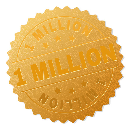 1 MILLION gold stamp seal. Vector gold medal of 1 MILLION text. Text labels are placed between parallel lines and on circle. Golden surface has metallic texture. Çizim