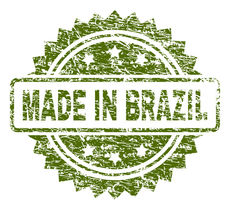 MADE IN BRAZIL stamp seal watermark with rubber print style. Green vector rubber print of MADE IN BRAZIL label with dust texture. Illustration