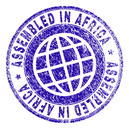 ASSEMBLED IN AFRICA stamp watermark with distress texture. Blue vector rubber print of ASSEMBLED IN AFRICA text with retro texture. Seal has words arranged by circle and globe symbol. Illustration