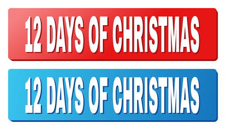 12 DAYS OF CHRISTMAS text on rounded rectangle buttons. Designed with white title with shadow and blue and red button colors. Illustration