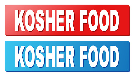 KOSHER FOOD text on rounded rectangle buttons. Designed with white title with shadow and blue and red button colors. Illustration