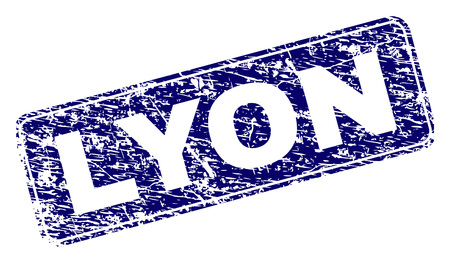 LYON stamp seal imprint with distress style. Seal shape is a rounded rectangle with frame. Blue vector rubber print of LYON text with unclean style.