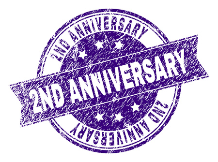 2ND ANNIVERSARY stamp seal watermark with grunge texture. Designed with ribbon and circles. Violet vector rubber print of 2ND ANNIVERSARY tag with dirty texture. Çizim