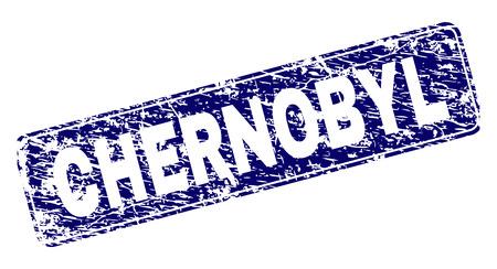 Timbre de TCHERNOBYL imprimé avec un style de détresse. La forme du sceau est un rectangle arrondi avec cadre. Impression en caoutchouc de vecteur bleu du titre de CHERNOBYL avec un style sale.