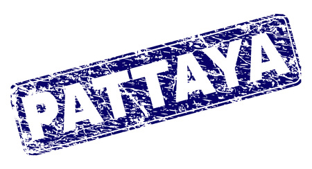 PATTAYA stamp seal print with grunge style. Seal shape is a rounded rectangle with frame. Blue vector rubber print of PATTAYA label with grunge texture.