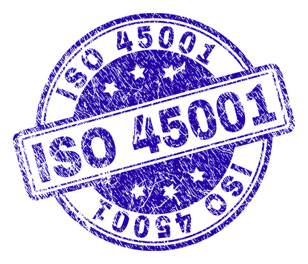 ISO 45001 stamp seal imprint with grunge texture. Designed with rounded rectangles and circles. Blue vector rubber print of ISO 45001 text with grunge texture.