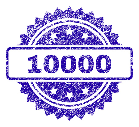 10000 stamp imprint with scratched style. Blue vector rubber seal print of 10000 tag with scratched texture. Illustration