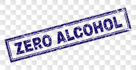 Impression de cachet de timbre ZERO ALCOHOL avec style d'impression en caoutchouc et forme de rectangle à double encadrement. Le tampon est placé sur un fond transparent.