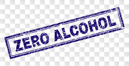 ZERO ALCOHOL stamp seal imprint with rubber print style and double framed rectangle shape. Stamp is placed on a transparent background.