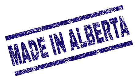 MADE IN ALBERTA stamp seal watermark with grunge style. Blue vector rubber print of MADE IN ALBERTA caption with grunge texture. Text label is placed between parallel lines.