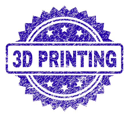 3D PRINTING stamp imprint with grunge style. Blue vector rubber seal print of 3D PRINTING tag with grunge texture. Illustration