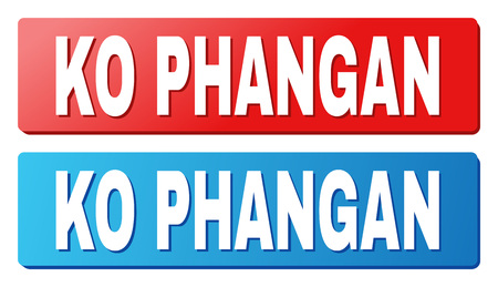 KO PHANGAN text on rounded rectangle buttons. Designed with white caption with shadow and blue and red button colors.