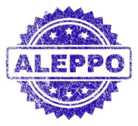 ALEPPO stamp imprint with distress style. Blue vector rubber seal print of ALEPPO title with grunge texture.