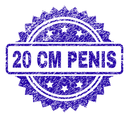 20 CM PENIS stamp watermark with corroded style. Blue vector rubber seal print of 20 CM PENIS label with grunge texture.