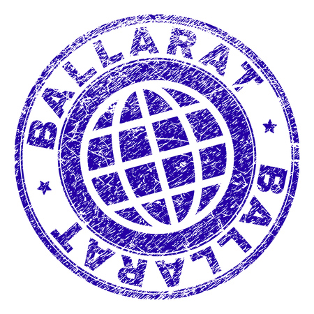 BALLARAT stamp imprint with grunge texture. Blue vector rubber seal imprint of BALLARAT text with dirty texture. Seal has words placed by circle and globe symbol.
