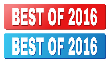 BEST OF 2016 text on rounded rectangle buttons. Designed with white caption with shadow and blue and red button colors.