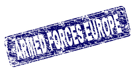 ARMED FORCES EUROPE stamp seal print with distress style. Seal shape is a rounded rectangle with frame. Blue vector rubber print of ARMED FORCES EUROPE caption with dirty style.