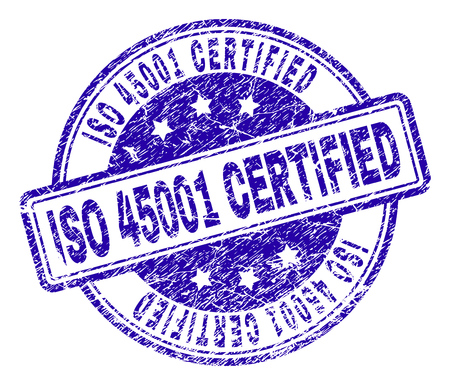 ISO 45001 CERTIFIED stamp seal watermark with grunge effect. Designed with rounded rectangles and circles. Blue vector rubber print of ISO 45001 CERTIFIED title with grunge texture. Illustration