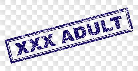 XXX ADULT stamp seal print with rubber print style and double framed rectangle shape. Stamp is placed on a transparent background. Blue vector rubber print of XXX ADULT label with dirty texture.