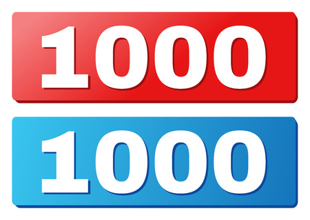 1000 text on rounded rectangle buttons. Designed with white title with shadow and blue and red button colors.