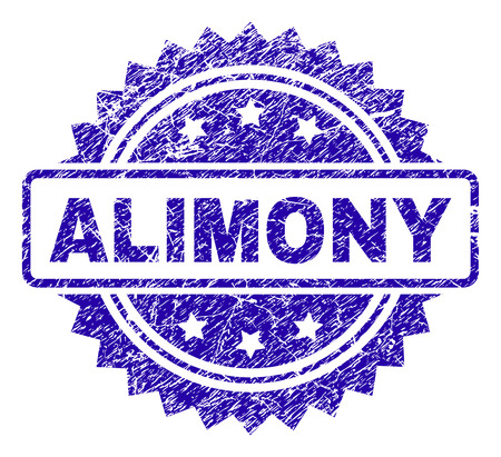ALIMONY stamp imprint with corroded style. Blue vector rubber seal print of ALIMONY label with corroded texture.