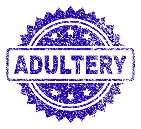 ADULTERY stamp imprint with corroded style. Blue vector rubber seal print of ADULTERY caption with corroded texture.