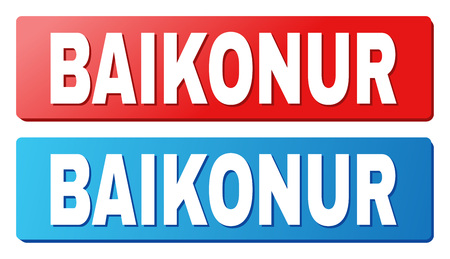BAIKONUR text on rounded rectangle buttons. Designed with white title with shadow and blue and red button colors.