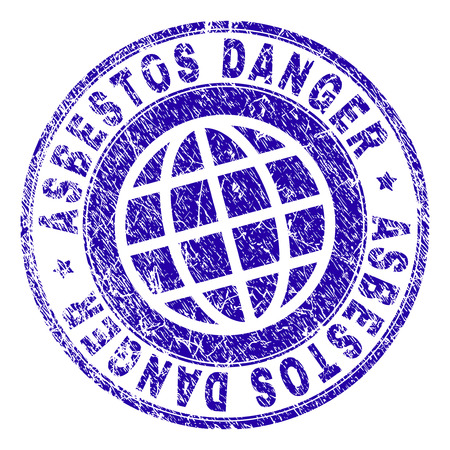ASBESTOS DANGER stamp imprint with grunge texture. Blue vector rubber seal imprint of ASBESTOS DANGER label with grunge texture. Seal has words placed by circle and globe symbol. Illustration