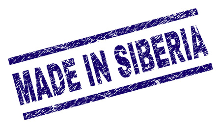 MADE IN SIBERIA stamp seal watermark with scratced style. Blue vector rubber print of MADE IN SIBERIA label with dust texture. Text label is placed between parallel lines.