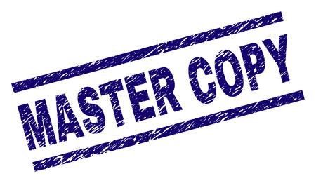 Filigrane de sceau de timbre MASTER COPY avec style grunge. Impression en caoutchouc de vecteur bleu du texte MASTER COPY avec texture rétro. Le titre du texte est placé entre des lignes parallèles.