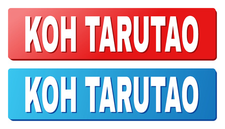 KOH TARUTAO text on rounded rectangle buttons. Designed with white caption with shadow and blue and red button colors.