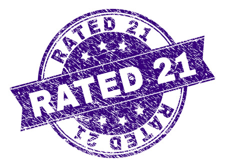 RATED 21 stamp seal watermark with grunge texture. Designed with ribbon and circles. Violet vector rubber print of RATED 21 tag with dirty texture. Illustration