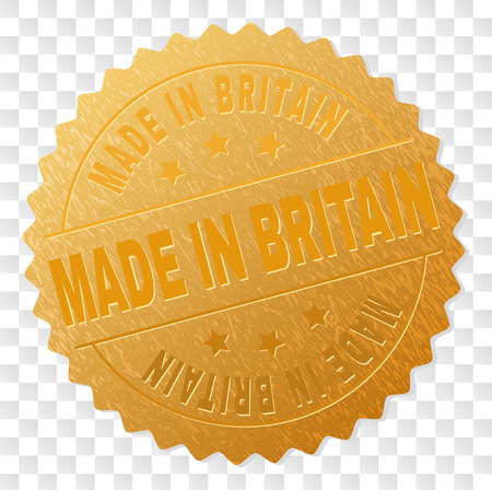 MADE IN BRITAIN gold stamp medallion. Vector golden medal of MADE IN BRITAIN text. Text labels are placed between parallel lines and on circle. Golden area has metallic structure.