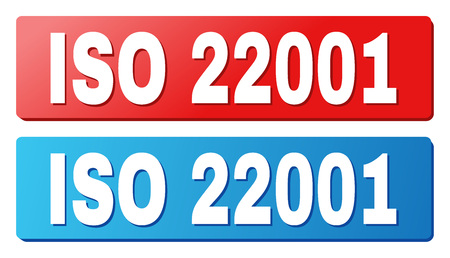 ISO 22001 text on rounded rectangle buttons. Designed with white title with shadow and blue and red button colors.