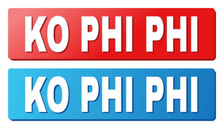 KO PHI text on rounded rectangle buttons. Designed with white caption with shadow and blue and red button colors.