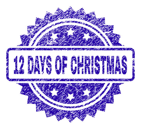12 DAYS OF CHRISTMAS stamp imprint with scratched style. Blue vector rubber seal print of 12 DAYS OF CHRISTMAS title with scratched texture.