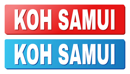 KOH SAMUI text on rounded rectangle buttons. Designed with white title with shadow and blue and red button colors.