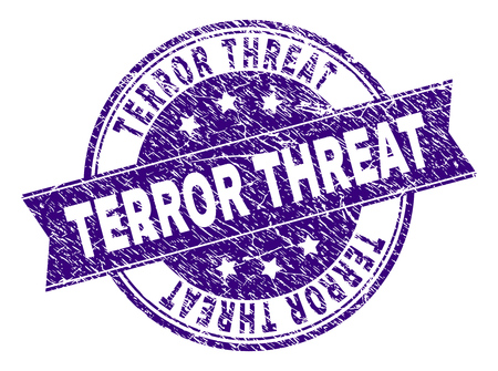 TERROR THREAT stamp seal imprint with distress texture. Designed with ribbon and circles. Violet vector rubber print of TERROR THREAT text with dirty texture.