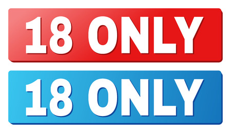 18 ONLY text on rounded rectangle buttons. Designed with white title with shadow and blue and red button colors. Stock Illustratie