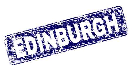 EDINBURGH stamp seal print with grunge texture. Seal shape is a rounded rectangle with frame. Blue vector rubber print of EDINBURGH text with corroded texture.