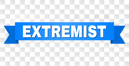EXTREMIST text on a ribbon. Designed with white caption and blue stripe. Vector banner with EXTREMIST tag on a transparent background. Banco de Imagens - 104923494