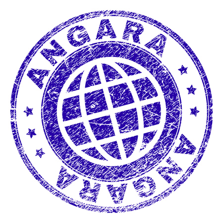 ANGARA stamp print with distress texture. Blue vector rubber seal print of ANGARA caption with grunge texture. Seal has words placed by circle and planet symbol.