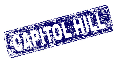 CAPITOL HILL stamp seal print with distress texture. Seal shape is a rounded rectangle with frame. Blue vector rubber print of CAPITOL HILL text with scratched texture.
