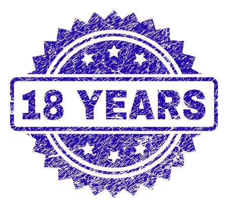 18 YEARS stamp imprint with dirty style. Blue vector rubber seal print of 18 YEARS title with dirty texture. Ilustracja