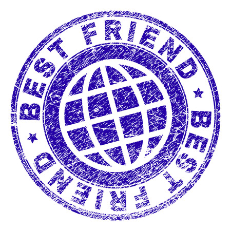 BEST FRIEND stamp print with grunge texture. Blue vector rubber seal print of BEST FRIEND tag with dust texture. Seal has words arranged by circle and globe symbol.